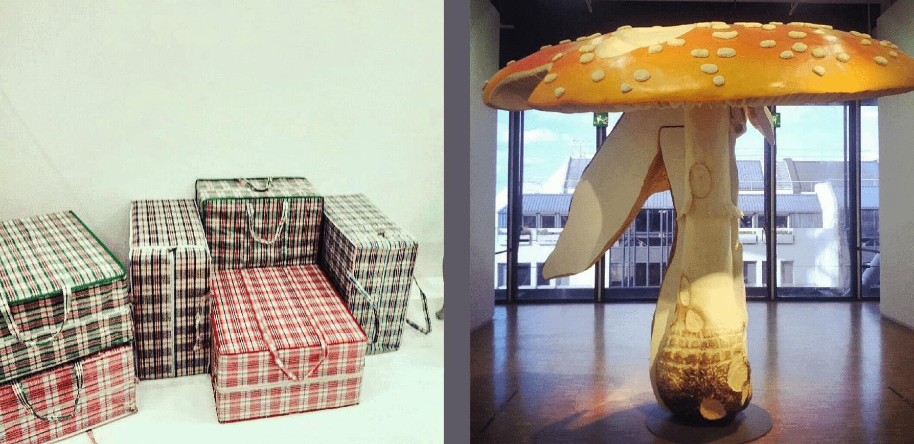 Absurd-w-sztuce-Matala-Crasset-Poufs-Digestion-i-Carsten-Höller- Giant-Triple-Mushroom