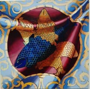 malarstwo-iluzjonistyczne-chusta-z-motywem-ryb-agnieszka-zak