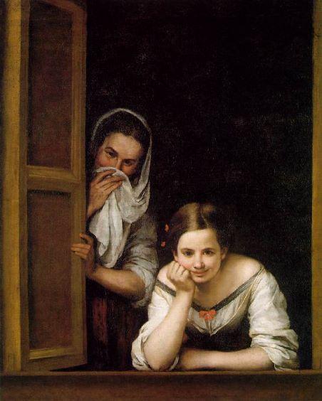 Bartolomé Esteban Perez Murillo Women at a Window sztuka w kwarantannie