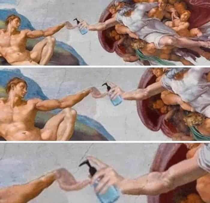 Michał Anioł Stworzenie Adama sztuka w kwarantannie