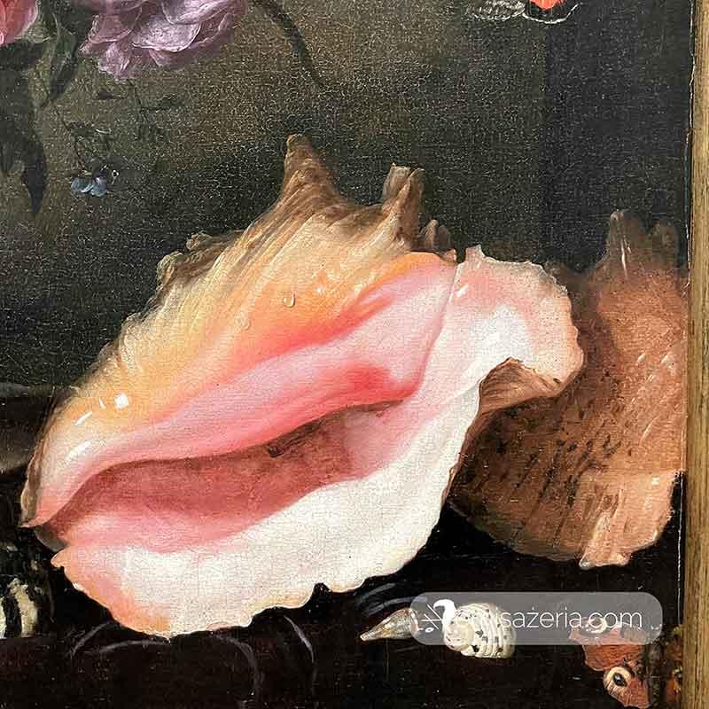 Pieter van de Venne Kwiaty w wazonie z muszlami i zegarkiem detal